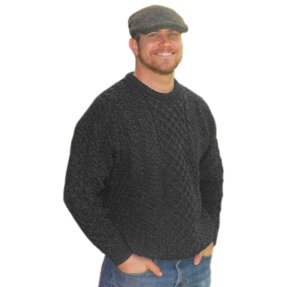 Men's Vintage Sweaters – 1920s to 1960s Retro Jumpers Carraig Donn Mens Traditional Aran Sweater Real Irish Wool Made in Ireland Gray $89.95 AT vintagedancer.com