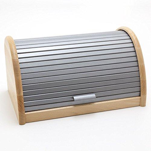 Holzfee Brotkasten 39 cm BK-BR Buche Silber Holz Brotbox Rollkasten
