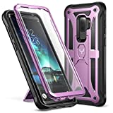 Galaxy S9+ Plus Case, YOUMAKER Full-body Rugged Kickstand Case with Built-in Screen Protector Heavy Duty Protection Shockproof Case Cover for Samsung Galaxy S9 Plus 6.2 inch (2018) (Metallic Purple)