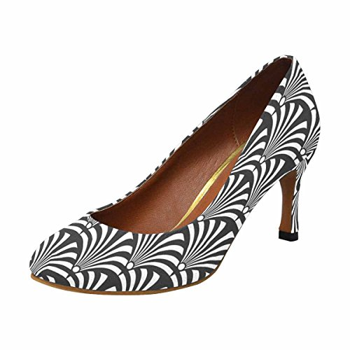 InterestPrint Womens Classic Fashion High Heel Dress Pump Black and White Luxury Art Deco Peacock rVeUBH