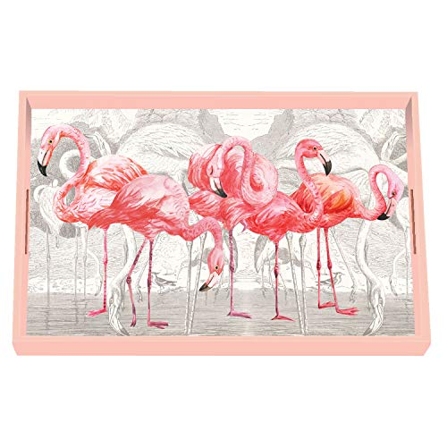 (Michel Design Works Vanity Decoupage Wooden Tray, Flamingo)