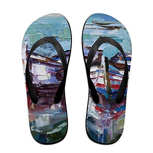 Flops Black for Men Kids Boat PTJHKET Women Painting Slippers Oil Flip 5vYqa1