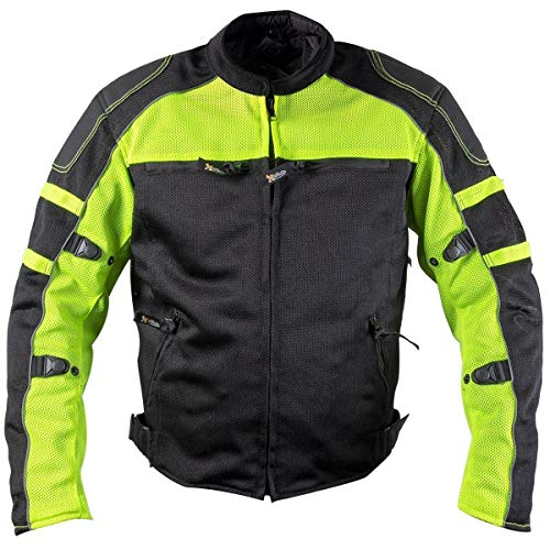 Xelement XS6550 'Fumes' Men's Black and High-Viz All Weather Mesh Level 3 CE Armored Motorcycle Jacket - -