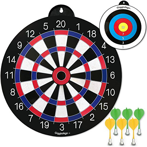 Games Play Dartboard - GIGGLE N GO Reversible Magnetic Dart Board Kids - 1 Fun Kids Game on Each Side, Just Turn It Around Play a Different Fun Game