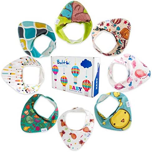 Bandana Baby Bibs - 8 Pack Waterproof Unisex Ultra Soft - 3 Layers Technology - Perfect for Boys & Girls with Sensitive Skin, Teething Drooling, Feeding - Perfect Gift for Newborn, Infants & Toddlers