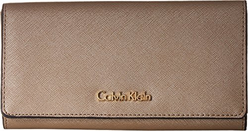 Calvin Klein Metallic Leather Zip - Calvin Klein Women's Saffiano Billfold Wallet Metallic Taupe One Size