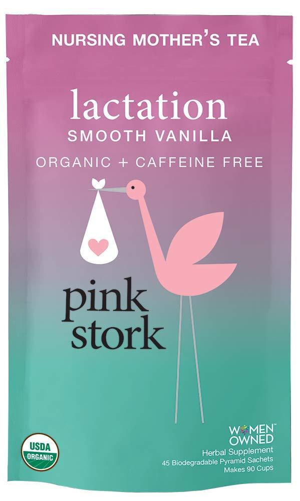 Pink Stork Lactation: Smooth Vanilla Nursing Support Tea -Organic Loose Leaf Tea in Biodegradable Sachets -Natural Breastfeeding Support -Enhance Breast Milk Nutrition, Supply, 90 Cups