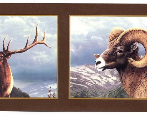 Ram, Moose, Elk Wallpaper Border