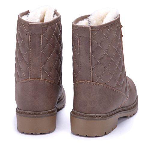 Schuhtempel24 Damen Schuhe Klassische Stiefeletten Stiefel Boots Blockabsatz 4 cm Khaki