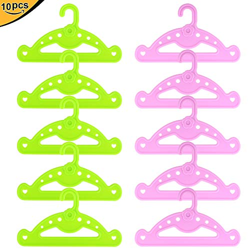 (ZITA ELEMENT Clothes Hangers for American 18 Inch Girl Doll Wardrobe Accessories - 10 Pcs (5 Green and 5 Pink) Doll Hangers for 14 Inch - 18 Inch Doll Clothing Outfits)