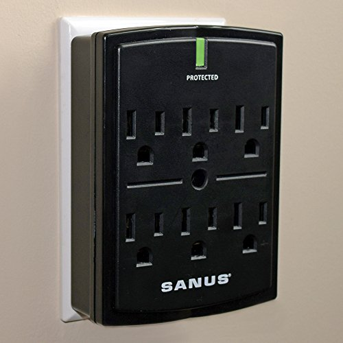 - SANUS On-Wall Low Profile 1080J Fireproof Surge Protector With 6 AC Outlets & 3 Lines Of Protection - Includes Power Signal Filtering & Mounting Screw