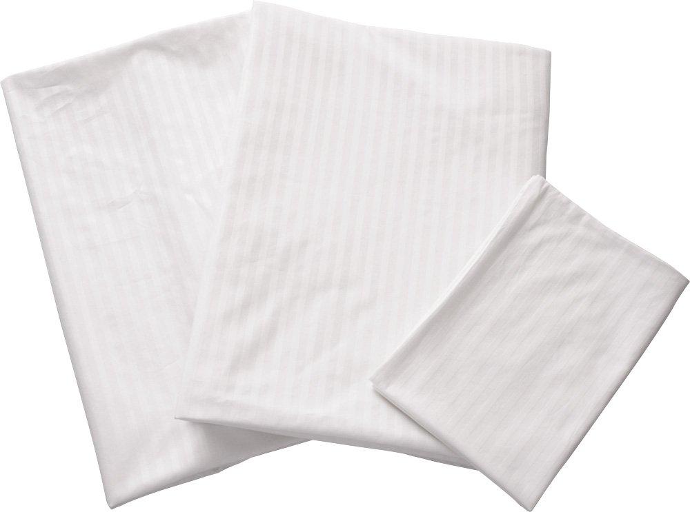エムール ストライプサテン 布団カバー3点セット シングル 日本製 ホワイト B00GNUDZNU シングル|ホワイト ホワイト シングル