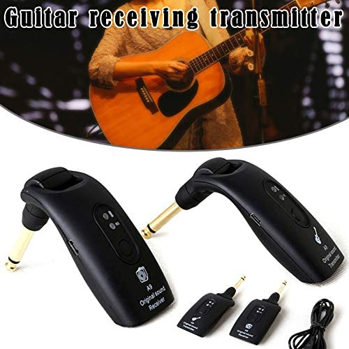 Liveday 2.4GHz Wireless Guitar System Transmitter A9 Receiver Built-in Rechargeable Accessories with USB Cable for Various Electronic Music Instruments