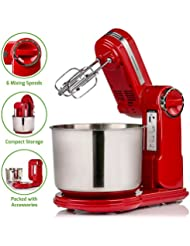 Ovente Professional Stand Mixer with 3.7 Quart Stainless Steel Mixing Bowl, 6 Mixing Speeds,