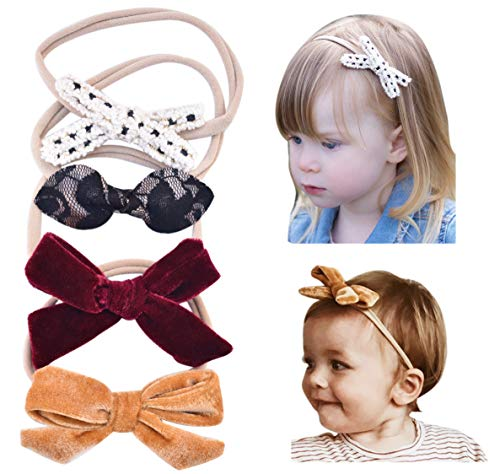(California Tot Baby Girls' Mixed Bows in Soft & Stretchy Nylon Headbands for Newborn, Toddler Girls Set of 4 (Dreamy Set))