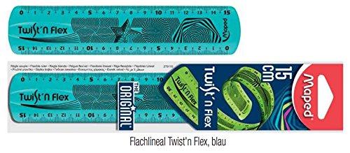 Maped Flachlineal Twist'n Flex, 150 mm / 15 cm , unzerbrechlich, transparent (Blau)
