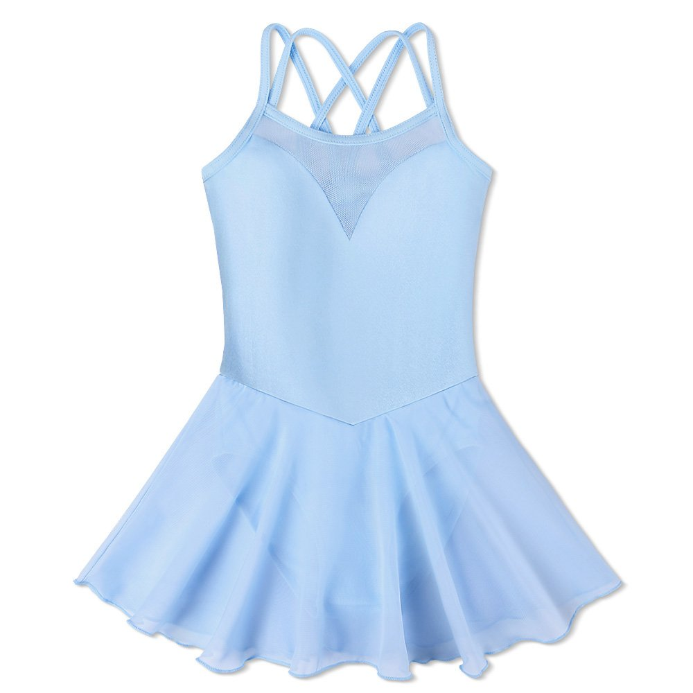 BAOHULU Girl's Ballet Dance Camisole Skirted Leotards Dancewear B186_Blue_M by BAOHULU