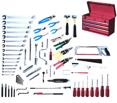 Wright Tool 185 Aircraft Mechanics Starter Set with Three Drawer Chest, 107-Piece