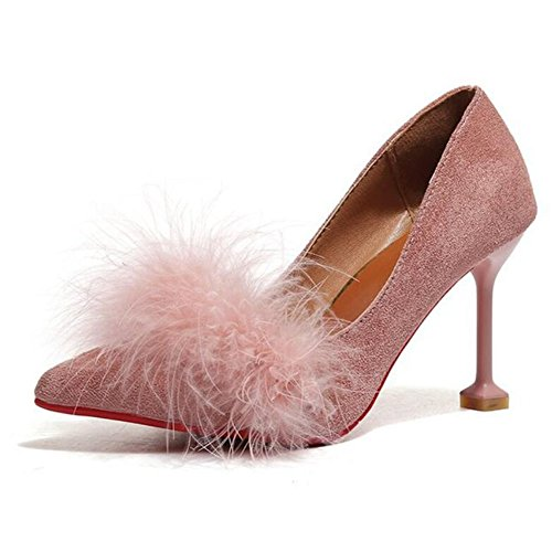 Party GAOLIXIA Beige Pink High with Shoes Fine Heeled Pink Plush Women's amp; Wedding Women's Shoes Black Suede Evening Shoes 77Arq1a
