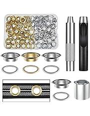 Vastar Oogjes gereedschapsset van puur koper, 100 delen (1/2 inch ID) 50 kleuren in goud en zilver met opbergdoos, geschikt voor lederen zeilen en andere stoffen, duurzaam