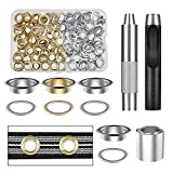 Vastar Grommet Tool Kit, 100 Sets 1/2 Inch Grommets Eyelets with 3Pcs Installation Tools for Fabric, Canvas, Curtain, Clothing, Leather