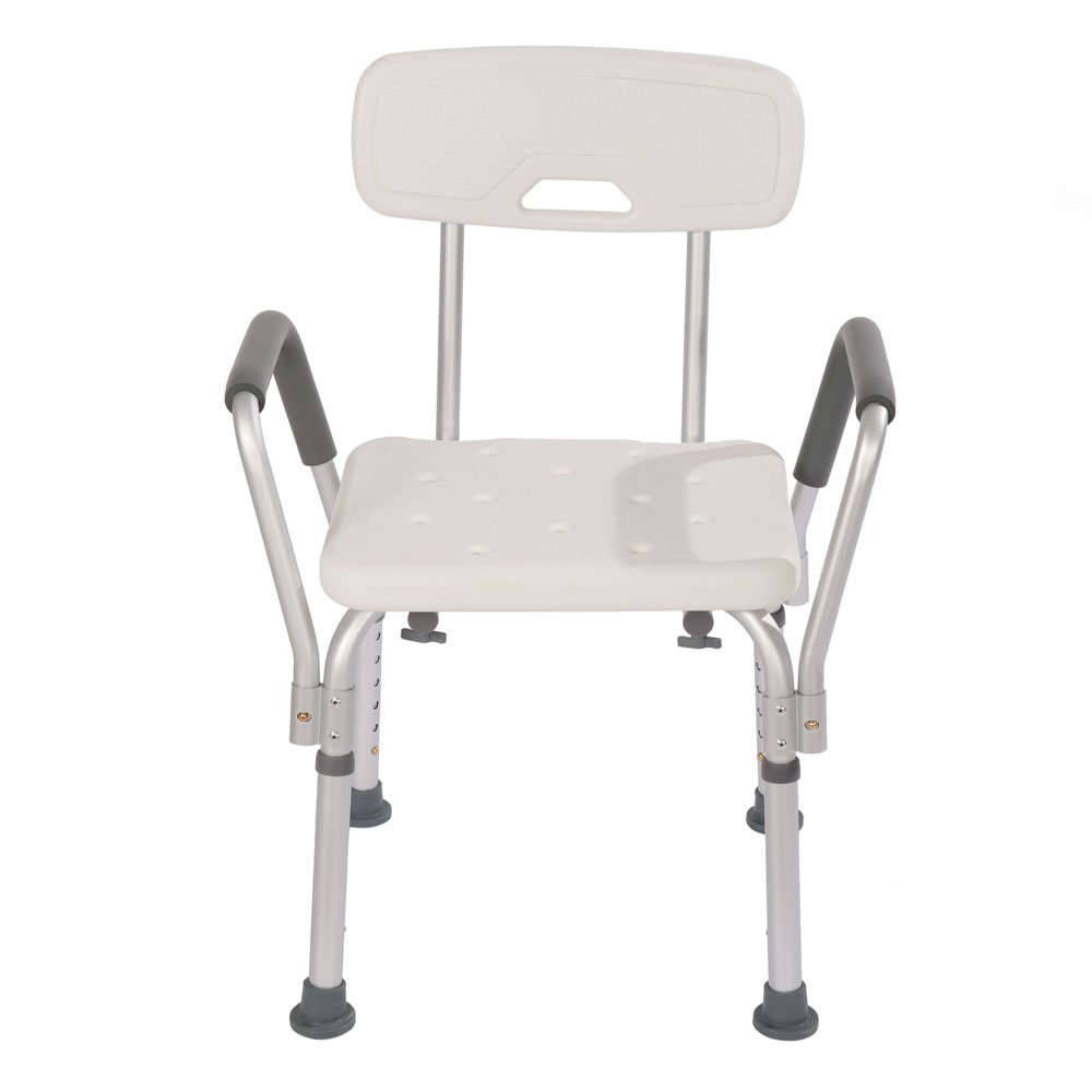 Mefeir Medical Shower Chair Bath Seat, 450LBS Stool Transfer Bench Upgrade Framework SPA Bathtub Chair, No-slip Adjustable 6 Height (with Back and Arms)