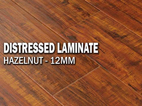 Mahogany Laminate Floor (19.5SF AMERIQUE Premium 12.3mm Laminate Click Distressed Hand-Scraped Hazelnut Flooring AC3 Rate, 19.5sf/ctn (One Carton))