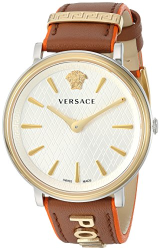 Versace Women's 'The Manifesto Edition' Quartz Stainless Steel and Leather Casual Watch, Color:Brown (Model: VBP070017)