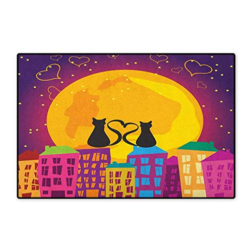 Animal,Door Mats Carpet,Cats on The Roof with Heart Shaped Tales Watching The Moonlight at Night in Town,Door Mats for Inside Non Slip Backing,Purple Orange,Size,24