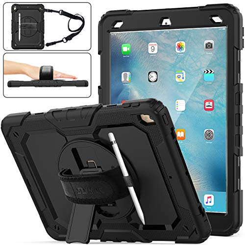 """SEYMAC stock iPad Air 3 Case 2019 / iPad Pro 10.5 Case 2017, Three Layer Hybrid Drop Protection Case with (360 Rotating Stand) Hand Strap &(Pencil Holder) for iPad Air 3rd Gen 10.5""""/ Pro 10.5 (Black)"""