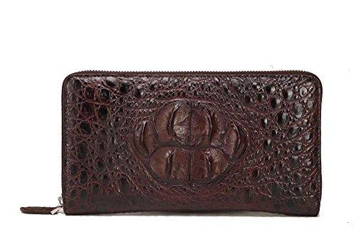 Zipper Crocodile Leather Zipper Leather Wallet Wallet Zipper Brown Wallet Crocodile Brown Crocodile Brown Leather wrwqP