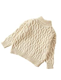 MAOMAHREWW Kid Tops Boy Girls Tops Outfit Turtle Neck Sweater Cable Knit Pullover