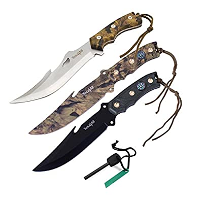 Tactical Hunting Survival Knife Skinner Bowie Fixed Blade with camouflage nylon Sheath - Speicial Promotion