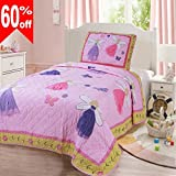 ASHome Kids Bedding 2 Piece Printed Quilt Set, One Piece Cute Quilt BedSpread and One Pillowcase, Twin Size 67'' x 87'', #012