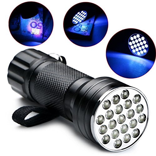 Portable 20+1 LED Flashlight Wide Beam Ultra-violet Light Detective Spy Tools Secret Sign Invisible Ink Money Checker Science Learning Discover Blacklight Dirt Strain Inspection Equipment FLA44