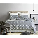 Dobeans King Duvet Cover Set Gray Geometric Pattern Print Boys Teens Bedding Set Grey 3 Pieces with Zipper Closure