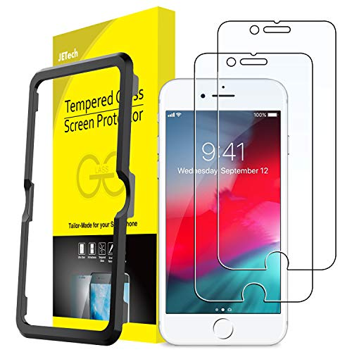 JETech Screen Protector for Apple iPhone 8, iPhone 7, iPhone 6s, iPhone 6, 4.7-Inch, Tempered Glass Film with Easy-Installation Tool, 2-Pack (Glass Iphone 6 Screen Protector)