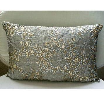 Amazon.com: Diseñador Plata almohadas Cover, Metálico ...