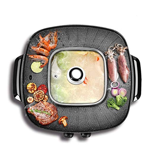 LYATW 2-in-1 Smokeless Electric Grill and Hot Pot, Multi-Function Household Electric Hot Pot, One-Piece Hot Pot, Barbecue Machine