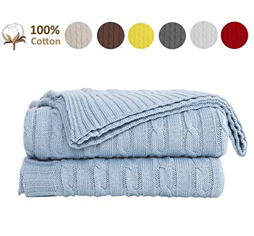 JSHANMEI 100% Cotton Cable Knit Throw Blanket for Couch Chair Beach Sofa, Soft Warm Home Decorative Lightweight Blanket, Blue 51 x 70 Inch