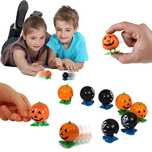 dazzling toys Halloween Wind up Party Favor 6 Pack Wind-up Jumping Pumpkin Pirate Balls | Holiday Party Favor | Super Trick or Treat Idea
