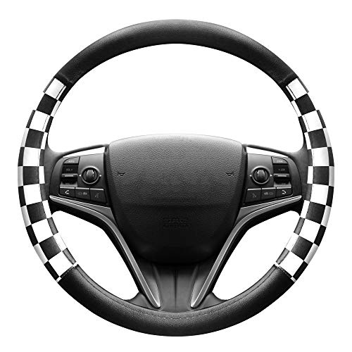 FINEX PU Leather Checker Flag Black & White Car Steering Wheel Cover Auto Car Accessories ()