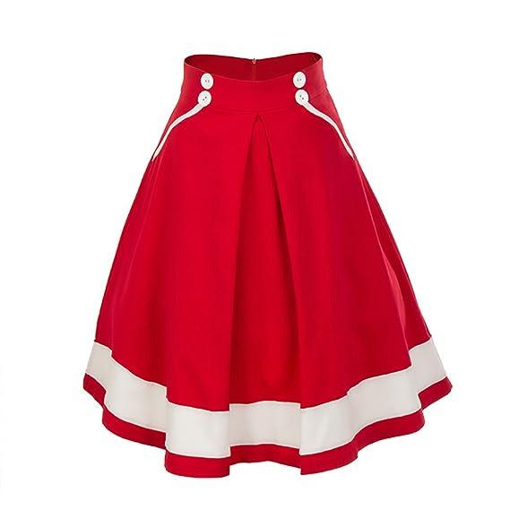 Faldas Mujer Elegantes Roja Años 50 Vintage Una Línea Swing Ropa ...