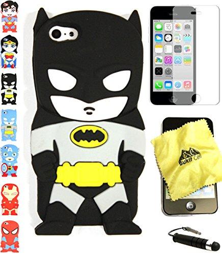 Bukit Cell 3D Superhero Case Bundle - 4 items: BLACK BATMAN Cute Silicone Case for iPhone 5C + BUKIT CELL Trademark Cloth + Screen Protector + METALLIC Stylus Touch Pen