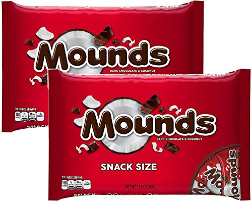 (Mounds Candy Bars, Snack Size, 11.3-Ounce Bag (Pack of 2) )