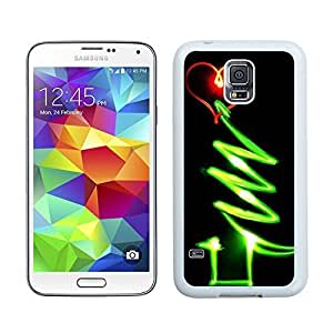Personalization Red Heart Green Line Glow Christmas tree 1 Samsung Galaxy S5 White Silicone Case,Samsung I9600 Phone Case