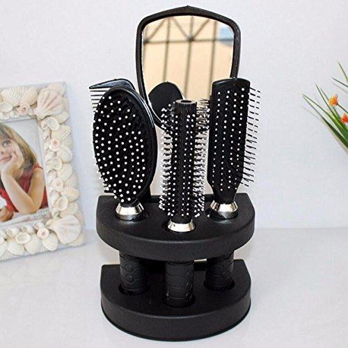 1 Sets (6Pcs/Set) Combs Hairbrush Massage Tangle Hair Brush Styling Tools Professional Salon Comb Detangling Combo Pocket Long Round Handle Holder Exquisite Popular Beard Natural Kids Travel Kit