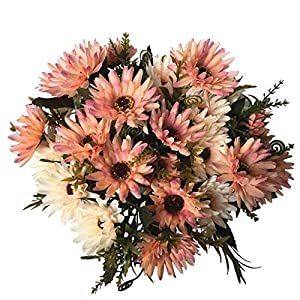 LoveniMen Artificial Chrysanthemum Flowers, Real Touch Silk Daisy Plastic Plants Home Decorations for Bridal Wedding Bouquet Bunches Hotel Party Garden Floral Décor Deep Champagne 4pack