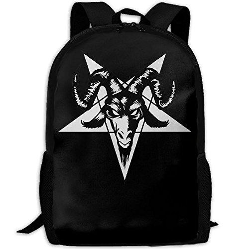 Satanic Goat Head Pentagram Unique Outdoor Shoulders Bag Fabric Backpack Multipurpose Daypacks For Adult