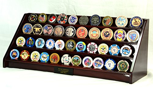 - 4 Rows Challenge Coin Casino Chip Display Rack Holder Stand -Cherry